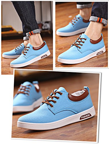 Homme Baskets Basses Lacet Plate Toile Espadrilles Casual Chaussure Sneakers Azur