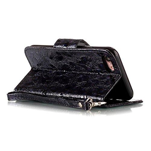 """MOONCASE iPhone 7/iPhone 8 Flip Cover, [Butterfly Pattern] Leder Handyhülle Built-in Ständer TPU Stoßfest Schutz-tasche Case für iPhone 7/iPhone 8 4.7"""" Red Schwarz"""