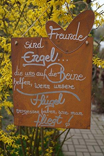Edelrost Tafel Freunde Gedichttafel Spruch Geschenk Schild Metall