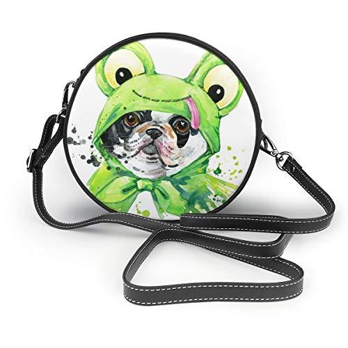Wrution Hundekostüm mit grünem Frosch, personalisierbar, runder Reißverschluss, Schultertasche, weiches Leder