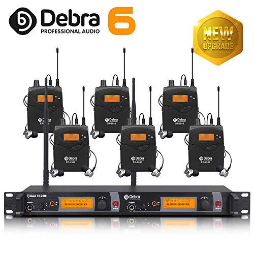 Beste Klangqualität! Professionelles UHF-In-Ear-Monitor-System Dual Channel Monitoring ER-2040 Typ für Bühnenaufzeichnung Studioüberwachung (SR2050 Update-Typ) (mit 6 Empfänger)