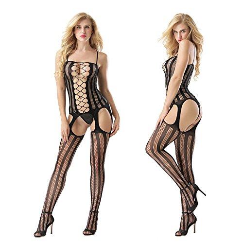 VLIMG Damenunterwäsche, Damenunterwäsche geöffnete Datei sexy Hohlkörper, Schwarz, One Size