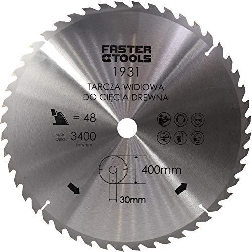 HM-Kreissägeblatt für Holz 400 x 30 mm mit 48 Zähne Nagelfest zum schneiden von Bauholz, Leimholz Brennholz mit Kreissäge Wippsäge Kappsäge und Tischkreissäge