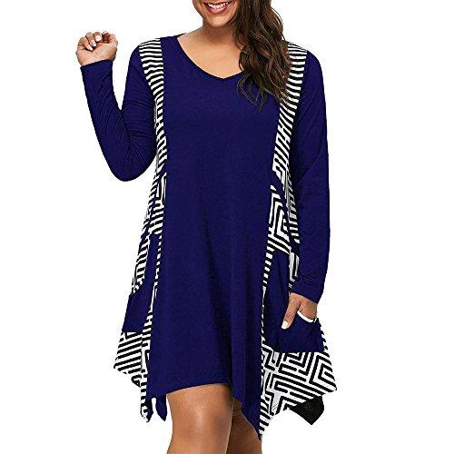 VJGOAL Kleider Damen, Übergröße Freizeit Kleider V-Ausschnitt Lange -