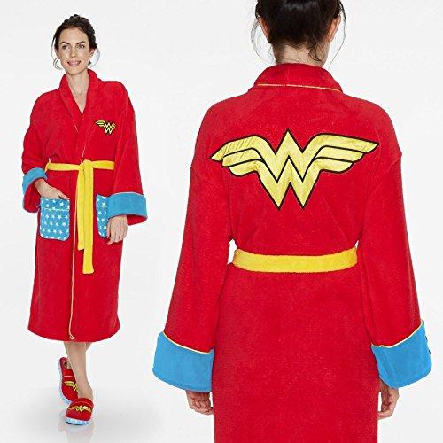 Bata Wonder Woman Bata de Camera Talla única con logo superhéroe frente y espalda Bolsillos Bata Casa Unisex sopra il pijama