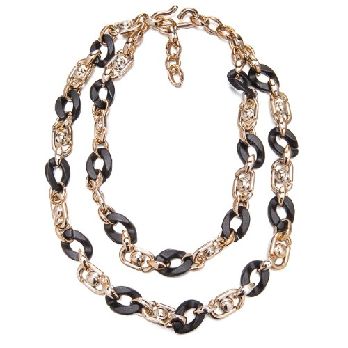 faux-jet-black-shell-lucite-rose-gold-2-tier-layered-links-chunky-necklace-sale-christmas-gift-her-b