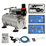 #9: BBBuy Multi-Purpose Gravity Feed Dual-Action Airbrush Kit 6 Foot Hose and 1/5hp a Powerful Single Piston Quiet Air Compressor (TC-20BK)