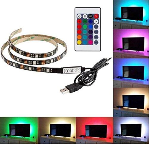 Emwel 1M LED Streifen TV Hintergrundbeleuchtung LED Strip RGB 5050 USB Stimmungslicht LED Beleuchtung Für HDTV TV Licht mit 24 Key Remote Control