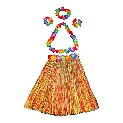 Boodtag Hawaiian Gras Rock Set mit 2*Armbänder 1*Stirnband 1*Lange Blumenhalskette Falsch Blumen Hula Röcke für Kostüm Party, Geburtstag, Feier,Themenparty (40cm, Bunt)