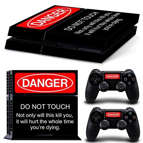 GameCheers PS4 Konsole and DualShock 4 Controller Skin Set - Warning Sign Gamer Alert - PlayStation 4 Vinyl -
