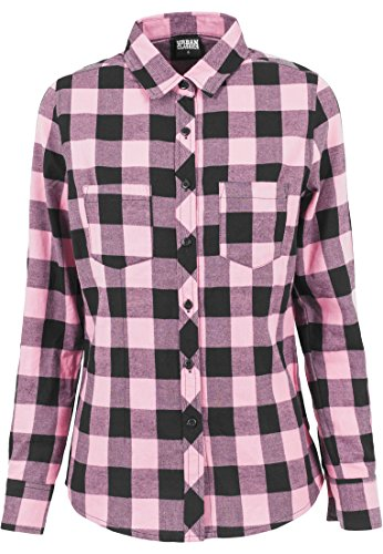 Ladies Turnup Checked Flanell Shirt blk/rose XS - Checked Flanell Hose