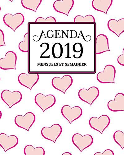 Agenda 2019 Mensuel Et Semainier: Blanc, Rose Or Coeur Motif Couverture   Calendrier, Organisateur, Objectifs et Liste de Souhaits   Janvier à Décembre 2019 (Halloween Liste Von)