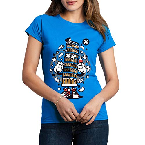 C192WCNTSB Damen T-Shirt Pisa Tower Retro Leaning Bell Cathedral Tilt Attraction Roman Italy Tourist Classic(XX-Large,Sapphire Blue)
