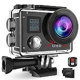 Campark ACT76 Caméra Sport 4K Ultra HD WiFi Télécommande Appareil Photo Étanche 16MP avec 170 °Grand-Angle 2 Batteries Rechargeables 1050mAh et Kit d'accessoires