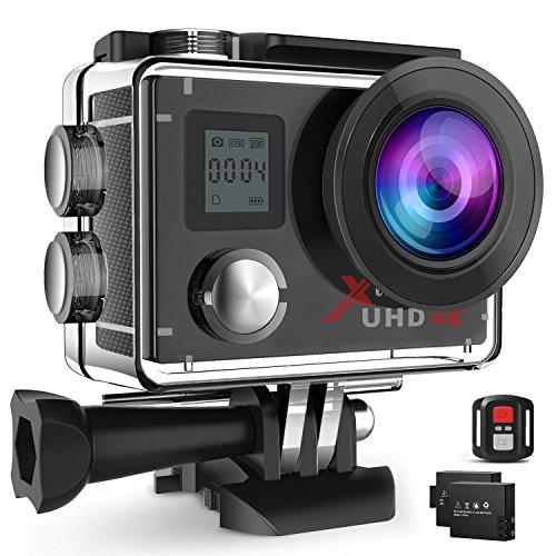 Campark ACT76 Action Camera es el modelo de actualización del ACT74. ACT76 has dual screen and wrist remote control with better image quality and performance. Incluye 2 baterías, caja de paquete portátil y kits de accesorios   Descripción: Especif...