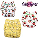 Fig O Honey Reusable New Born Baby Cloth Diapers | Multi-Color Baby Cloth Nappy With Free Absorbent Inserts | Washable Elastic Cloth Diapers | Reusable Elastic Printed Cloth Diapers | ( All Smiles, Ladybug & Emoji Print Combo )