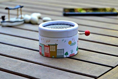 Caja de música manual redonda ciudad de música con la melodía La vie en Rose. El regalo perfecto para amantes de la música.