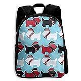 best& Jingle Scottie Dogs Aqua Vintage College Backpack Student School Bookbag Rucksack Travel Daypack