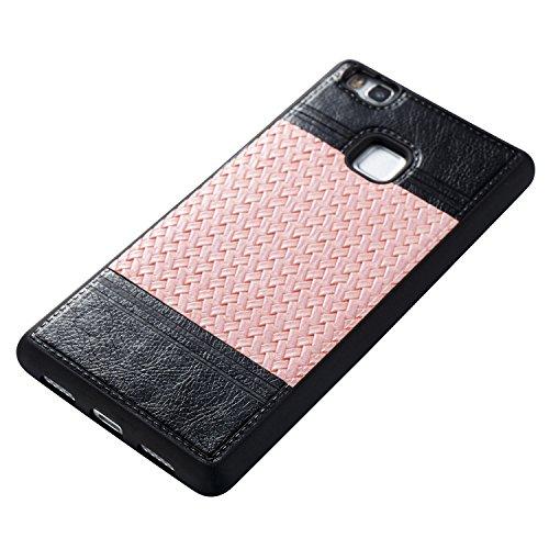 Huawei P9 Lite Hülle, Huawei P9 Lite Hülle Case, Cozy Hut Schutzhülle Für für Huawei P9 Lite , 2in1 Doppelschicht Schutz Handyhülle with Soft TPU Etui Protective Case Ultra Dünn Schutzhülle Zwei-Farbe schwarz Rosa