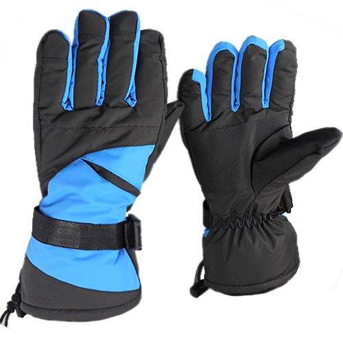 Jazooli Winter Ski Snowboard Snow Sports Thermal Waterproof Unisex Mens Womens Gloves - Blue