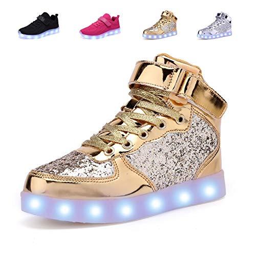 adituob Kinder LED Schuhe - Licht Auf Casual Schuhen Mode Atmungsaktives Mesh Blinkende Turnschuhe Ausbilder Outdoor Schuhe Für Die Jungen Mädchen Gold34 - Licht Gold Kinder Schuhe