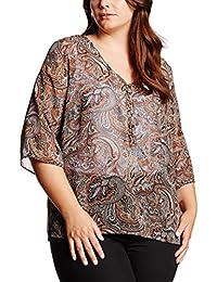 Frapp Damen Bluse Bedruckte Bluse mit V-ausschnitt und 3/4 Arm