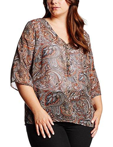 Frapp Bluse V-ausschnitt 3/4 Arm Druck - Blouse - Femme Multicolore - Mehrfarbig (Light Cogmac Multicolour 757)