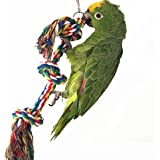 Parrot Toy Bird Knob Cotton Rope Perches Bungee Chew Toys,Birds Cage Swing Climbing Stand Bar (Knob)