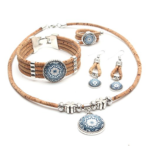 Set Ceramic Tile (Cork jewelry set from Portugal traditional ceramic tile pattern blue flower original Natural Set-045)