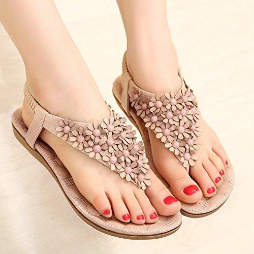 Sommer Schöne Damen Blumen Rückband Slip On Strandschuhe Lässige Outdoor Sandalen Pink