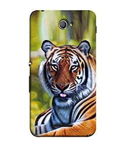 PrintVisa Designer Back Case Cover for Sony Xperia E4 :: Sony Xperia E4 Dual (Lions Big Cats Greenery Striped Animals)