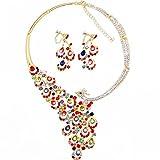 OFTEN (TM) Fahion Womans Rhinestone Crystal Necklace Earring Set Wedding Evening Travel