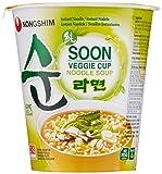 Nong Shim Instantnudeln Soon Veggie Ramyun – Koreanische Gemüse Cup Suppe mild - schnelle Zubereitung – 12er Vorteilspack à 67g