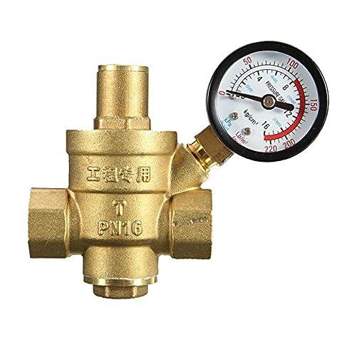 EsportsMJJ DN25 1 Inch Brass Water Pressure Regulator Valve with Gauge Pressure Water Pressure Reducing
