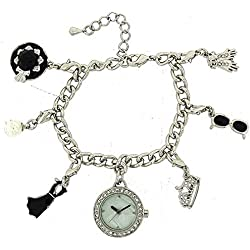 Hollywood Legends Audrey Hepburn Silver Charm Bracelet Fashion Watch W27/29M