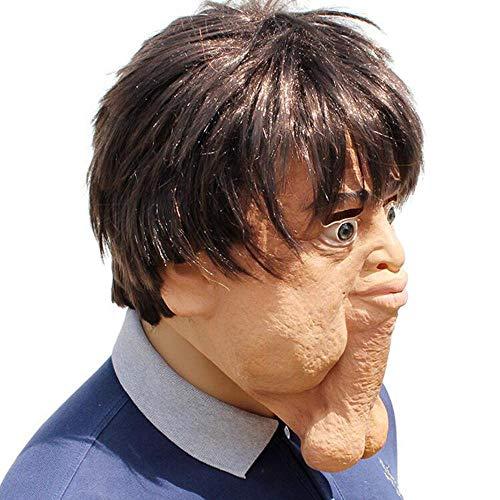 Noble Halloween Party Party Lustig Seltsam Unheimlich Doppelkinn Kopfbedeckung Latex Charakter Maske Mit - Noble Kostüm
