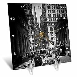 3dRose dc_77350_1 Sub Treasury Old Trinity Church Wall Street New York City Glass Slide-Desk Clock, 6 by 6-Inch