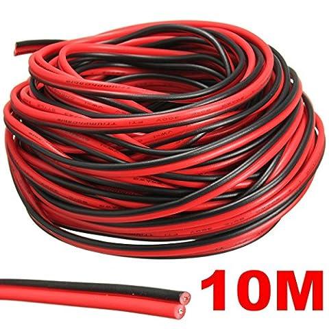 Audew Red/Black Hookup Wire Car Wiring Harness 12V DC 20 AWG for LED Strip Extension Audio Speaker Wire 2 Meters/ 5 Meters/ 10 Meters/ 20 Meters 10 Meters