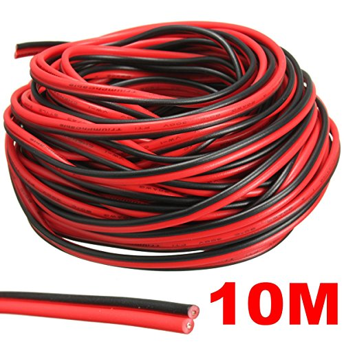 AUDEW Red/Black Hookup Wire Car Wiring Harness 12V DC 20 AWG for LED Strip Extension Audio Speaker Wire 2 Meters/ 5 Meters/ 10 Meters/ 20 Meters 10 Meters Test