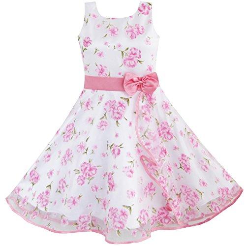 Sunboree Mädchen Kleid 3 Schichten Rosa Blume Welle Festzug Hochzeit Gr.98-104