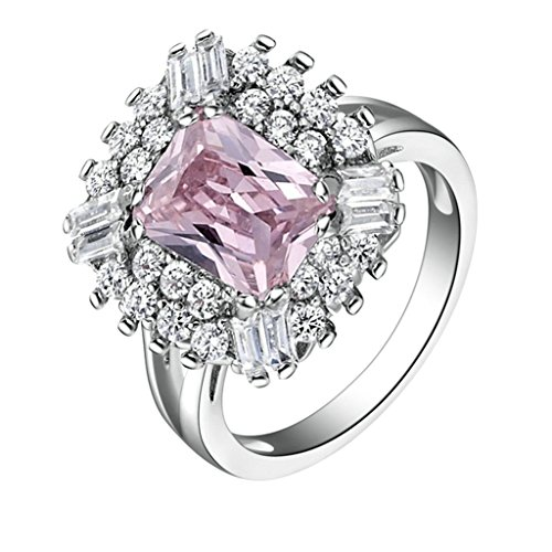 Daesar Damenring Versilbert Verlobungsring Platz Zirkonia Ring Strass Ring Princess Schliff Größe:60 (19.1) Granat Ring Princess Cut