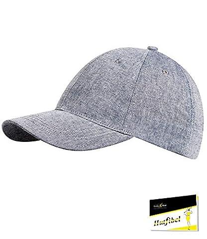 Fiebig Herrenbasecap Basecap Baseballcap Schirmmütze Sommercap Kappe Streetwear einfarbig mit Klettverschluss für Männer (FI-47468-S16-HE2-16-58) in marine, Größe 58 inkl. EveryHead-Hutfibel