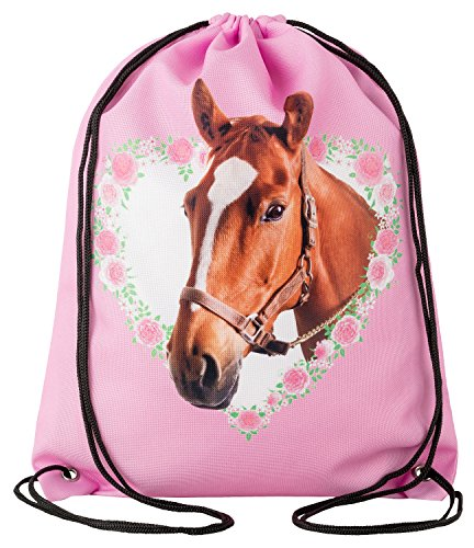 nbeutel Mädchen Pferd Pony im Herz mit Blumen Bordüre * Fotodruck * Strapazierbares Polyester * Rosa Pink * Gymbag Reithelmbeutel Tiere Pferde Jutebeutel Sportbeutel Beutel Rucksack Sporttasche (Pony In Einer Tasche)