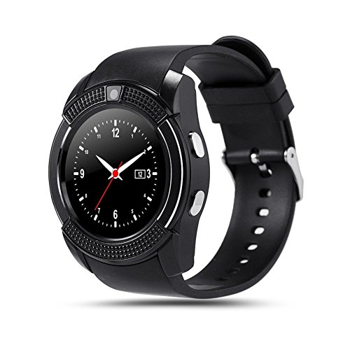 TKSTAR Bluetooth Smartwatch, Smart Uhr Telefon, Sport Fitness Fitness Tracker, Smartwatch Telefon Kamera Nachricht Benachrichtigung Pedometer Schlaf Monitor Walking Distance Wireless Smart Armband JUV8 (Schwarz)