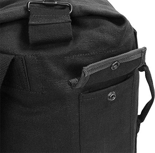 Seesack Canvas Rucksack - 30 Liter - 100 % Naturfaser Baumwolle mit Schultergurten und extra Tragegriff Schwarz