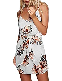 Jintime Hot Sale Women Holiday Summer Beach Floral Dresses Ladies Sleeveless Mini Dress