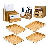 7 teiliges Schreibtisch Set XL, aus Bambus, 4 Briefablagen für A4 , Schreibtischorganizer Stifteköcher, Dokumentenhalter stehend, Ablagesystem, natur