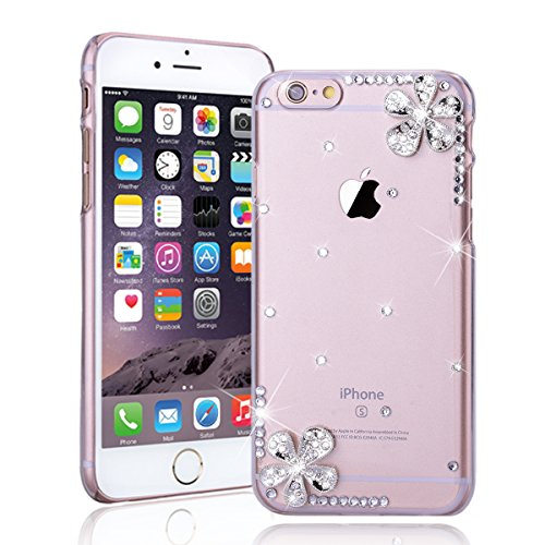 SMARTLEGEND Bling Cover Case per iPhone 5/5S/SE, Ultra Slim Trasparente Rigida Glitter Strass Custodia Protettiva Caso, Fashion Elegante Design Pattern Duro Back Case Copertura con Diamante - Diagonal