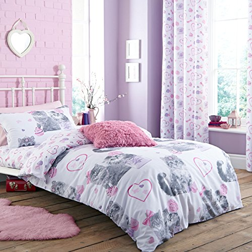 Price comparison product image Catherine Lansfield Pretty Kitty Duvet Set,  Grey - Double
