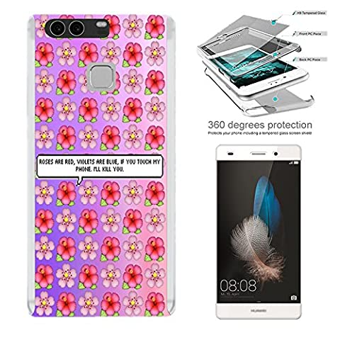 002849 - Girly Pink Floral Roses flowers Floral Rosess Are Red Violets Are Blue Poem Design Huawei P9 Complete 360° Degree protection Coque Avant & Arrière Protection +Tempered Glass Screen